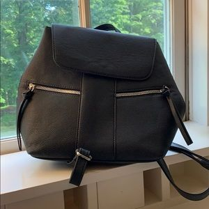 Navy Blue Leather Backpack